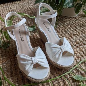 White AE Jute Rope Wedge Twist-Top Sandals/Heels